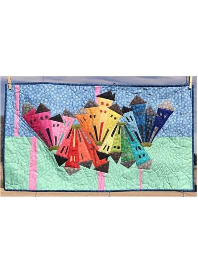 Rainbow Hash Dot Neighborhood Quilt by Kim Lapacek of Persimon Dreams