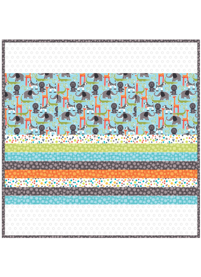 Safari Friends -MINKY Strip Quilt /58x58""