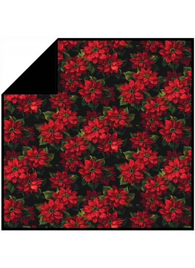 "Scarlet Poinsettia - MINKY Strip Quilt /58""x58"""