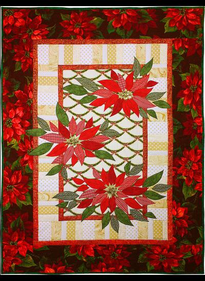 Scarlet Poinsettias Quilt by Marinda Stewart