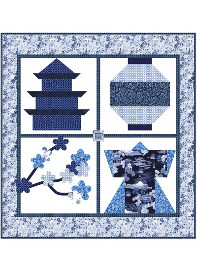 "Snapshots of Japan Blue Quilt by Natalie Crabtree /53""x56"""
