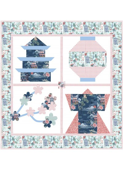 "Snapshots of Japan Pink Quilt by Natalie Crabtree /53""x56"""
