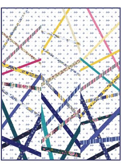 "Provencial Stix Blue Quilt by Sam Hunter's Design Studio /54""x72"""