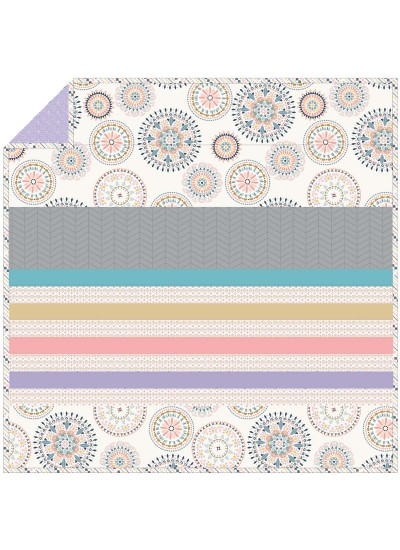 Suzani Wheel A - Minky Strip Quilt /58x58""