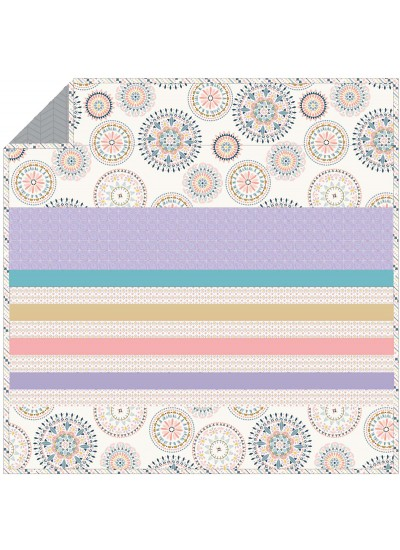 Suzani Wheel B - Minky Strip Quilt /58x58""