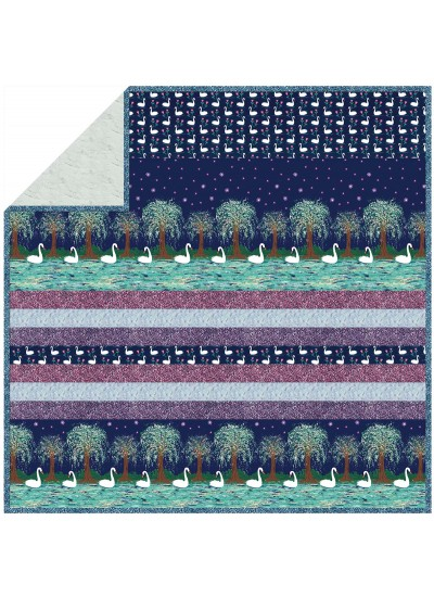 Swan Lake - Minky Strip Quilt /58x58""
