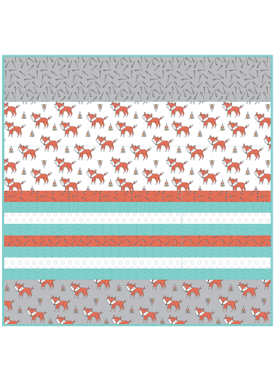 "Tokala Fox - Strip Quilt /58""x58"""
