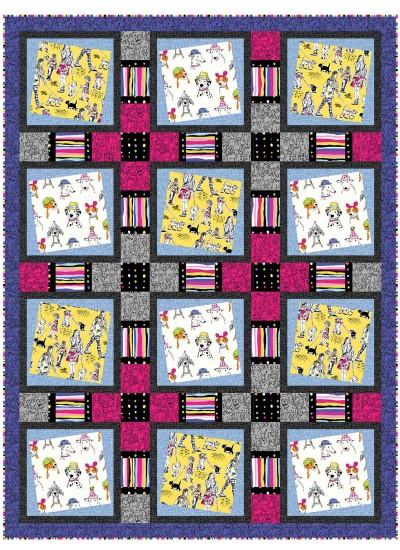 """Walk around Town Quilt by Heidi Pridemore /54""""x72"""""""