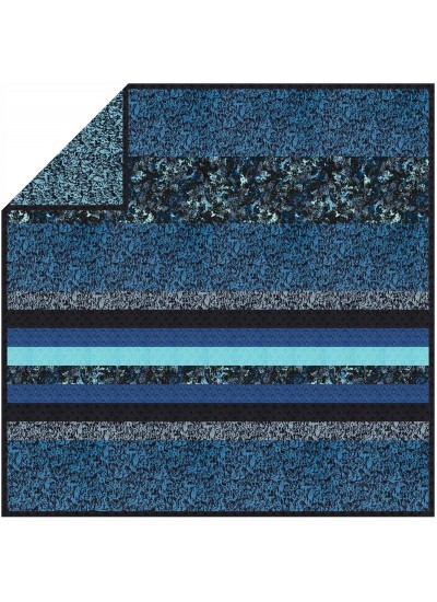 "Where's Rover? Blue- MINKY Strip Quilt /58""x58"""